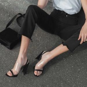 Shaq Clear Black Slingback Heels